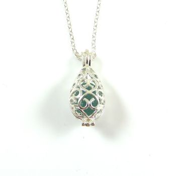 Jade Sea Glass Silver Filigree Locket Necklace