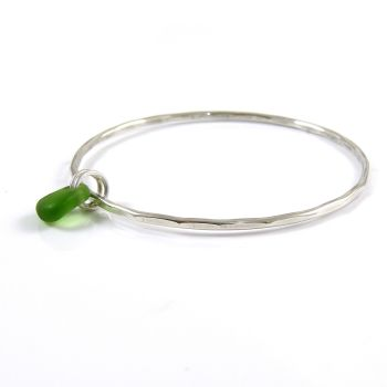 Sterling Silver Hammered Bangle and Kelly Green Sea Glass Charm b231