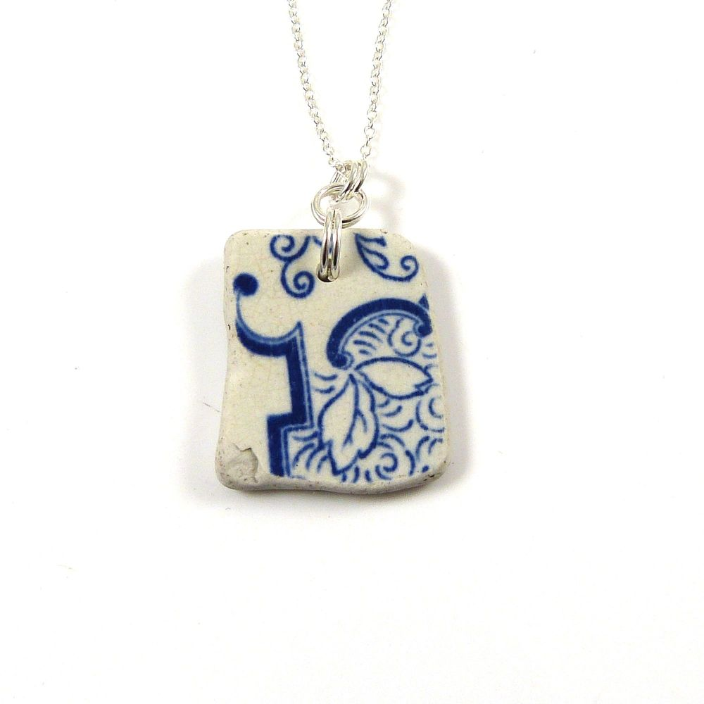Blue and White English Beach Pottery Pendant Necklace FLORA