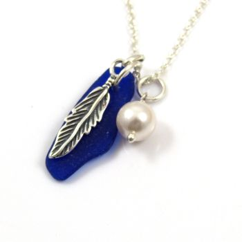 Cobalt Blue Sea Glass, Sterling Silver Angel Feather and Swarovski Pearl Necklace
