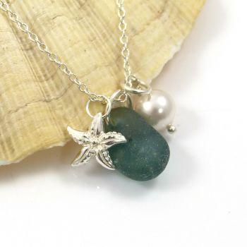 Jade Green Bonfire Sea Glass, Sterling Silver Starfish and Swarovski Pearl Necklace c293