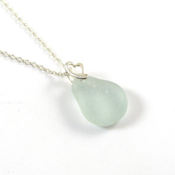 Seafoam Blue Sea Glass Necklace PAULA