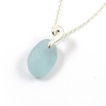 Light Aquamarine Sea Glass and Sterling Silver Necklace LEONIE