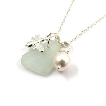 Sterling Silver Bee Charm, Sea Glass Gem and Swarovski Crystal Pearl Necklace