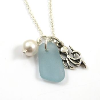 Sky Blue Sea Glass, Sterling Silver Octopus and Swarovski Crystal Pearl Necklace c292
