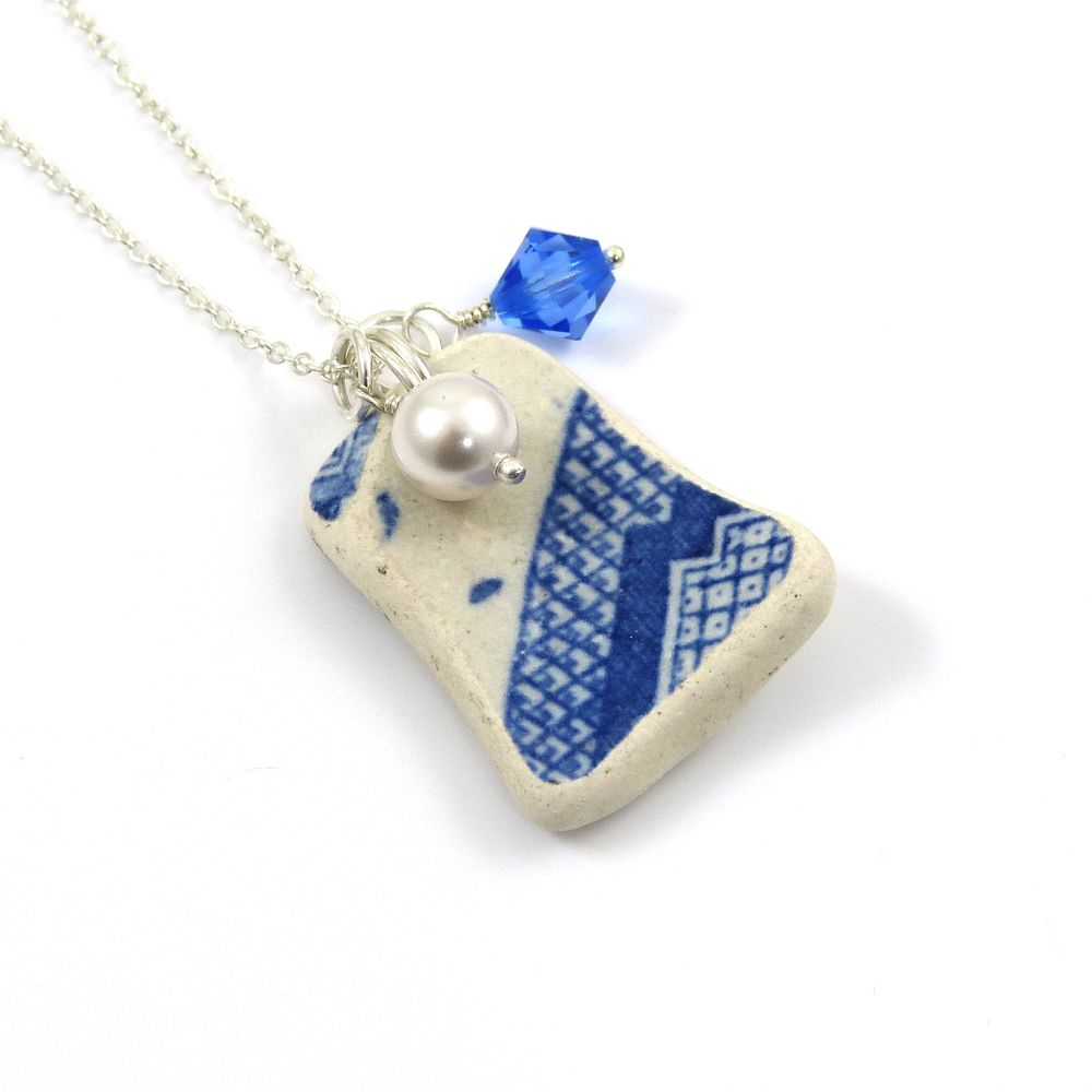 Blue and White Beach Pottery, Swarovski Birthstone and Pearl Necklace