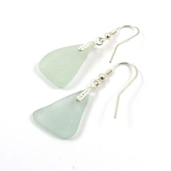 Pale Aquamarine Sea Glass Sterling Silver Earrings e88