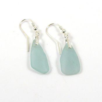 Pale Blue Sea Glass Sterling Silver Earrings e87