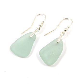 Seafoam Sea Glass Sterling Silver Earrings e89