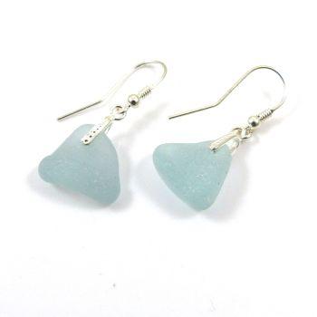 Glacier Blue Sea Glass Sterling Silver Drop Earrings e86