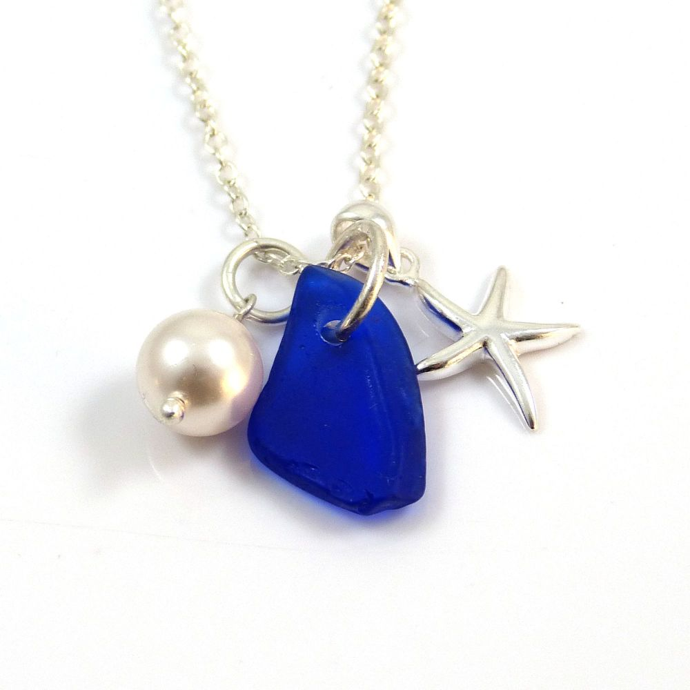 70ed29ab6112f Cobalt Blue Sea Glass, Sterling Silver Starfish and Swarovski Crystal Pearl  Necklace c297
