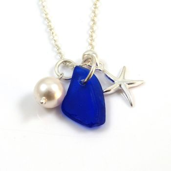 Cobalt Blue Sea Glass, Sterling Silver Starfish and Swarovski Crystal Pearl Necklace c297