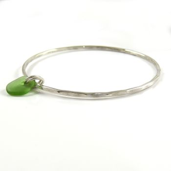 Sterling Silver Hammered Bangle and Pale Green Sea Glass Charm b230