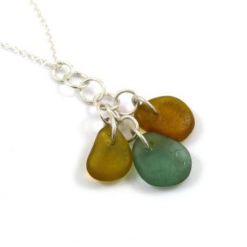 Amber, Honey and Jade Sea Glass Cluster Necklace ARISTA