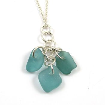 Turquoise Sea Glass Cluster Necklace SIRENA