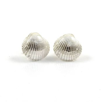 Tiny Sterling Silver Cockle Shell Stud Earrings