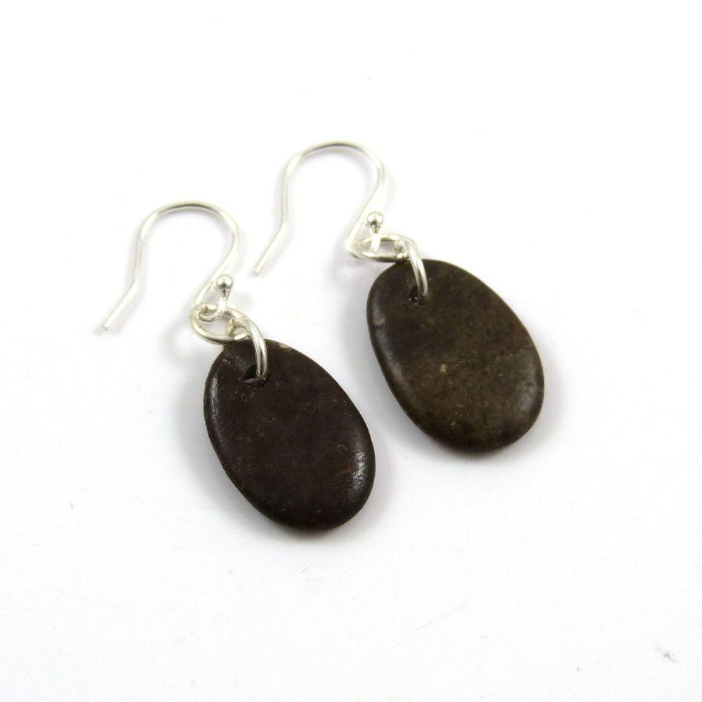 Little Brown Beach Pebble Earrings, Beach Stone Earrings, Drilled Stone Ear