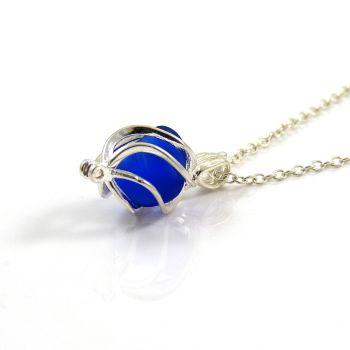 Cobalt Blue Sea Glass Swirl Locket Necklace L76