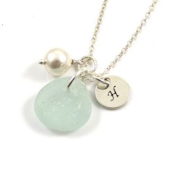 Aqua Sea Glass, Swarovski Crystal Pearl and Personalised Sterling Silver Disc Necklace p172