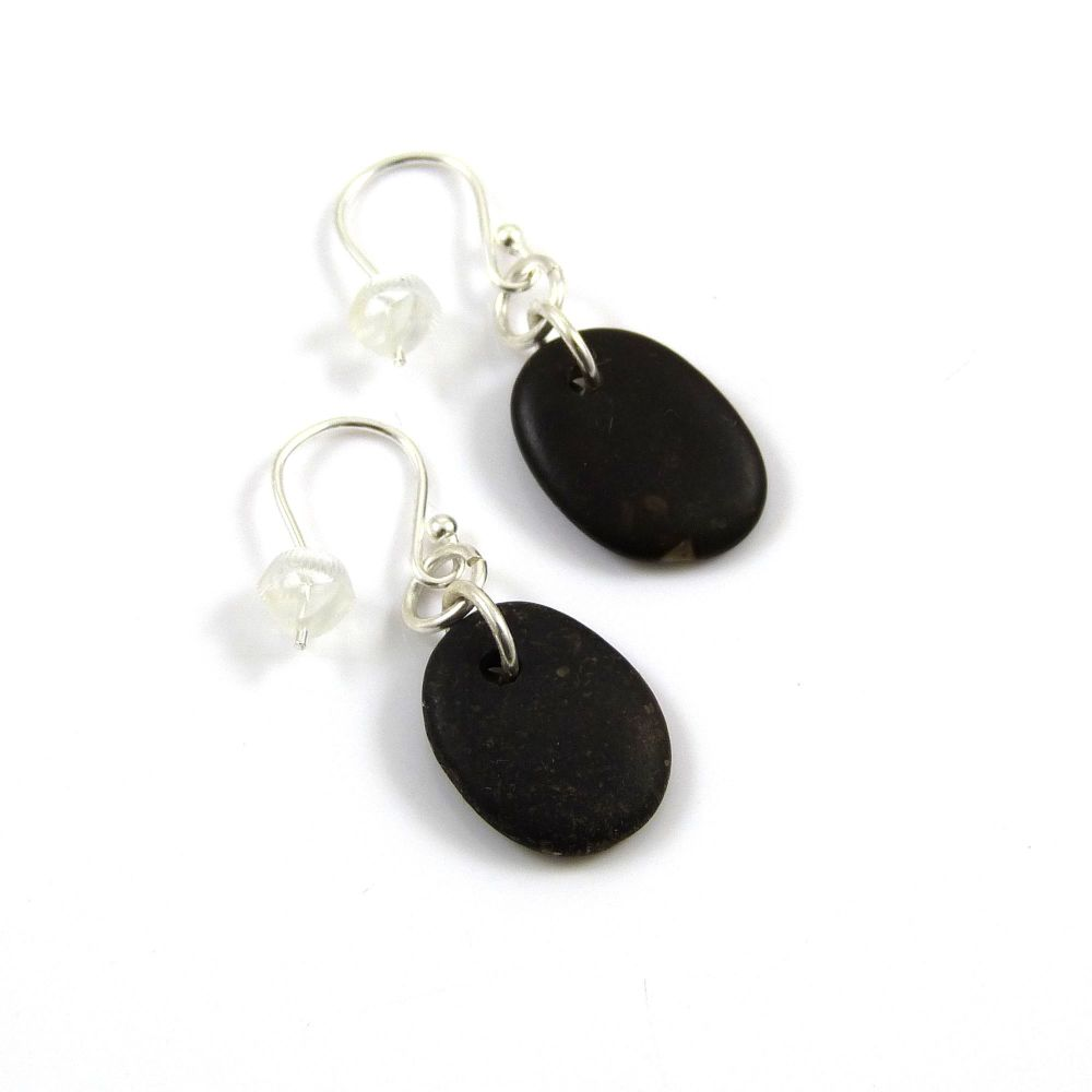 Little Brown Beach Pebble Earrings, Beach Stone Earrings, Drilled Stone Ear