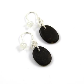 Little Brown Beach Pebble Earrings, Beach Stone Earrings, Drilled Stone Earrings e91