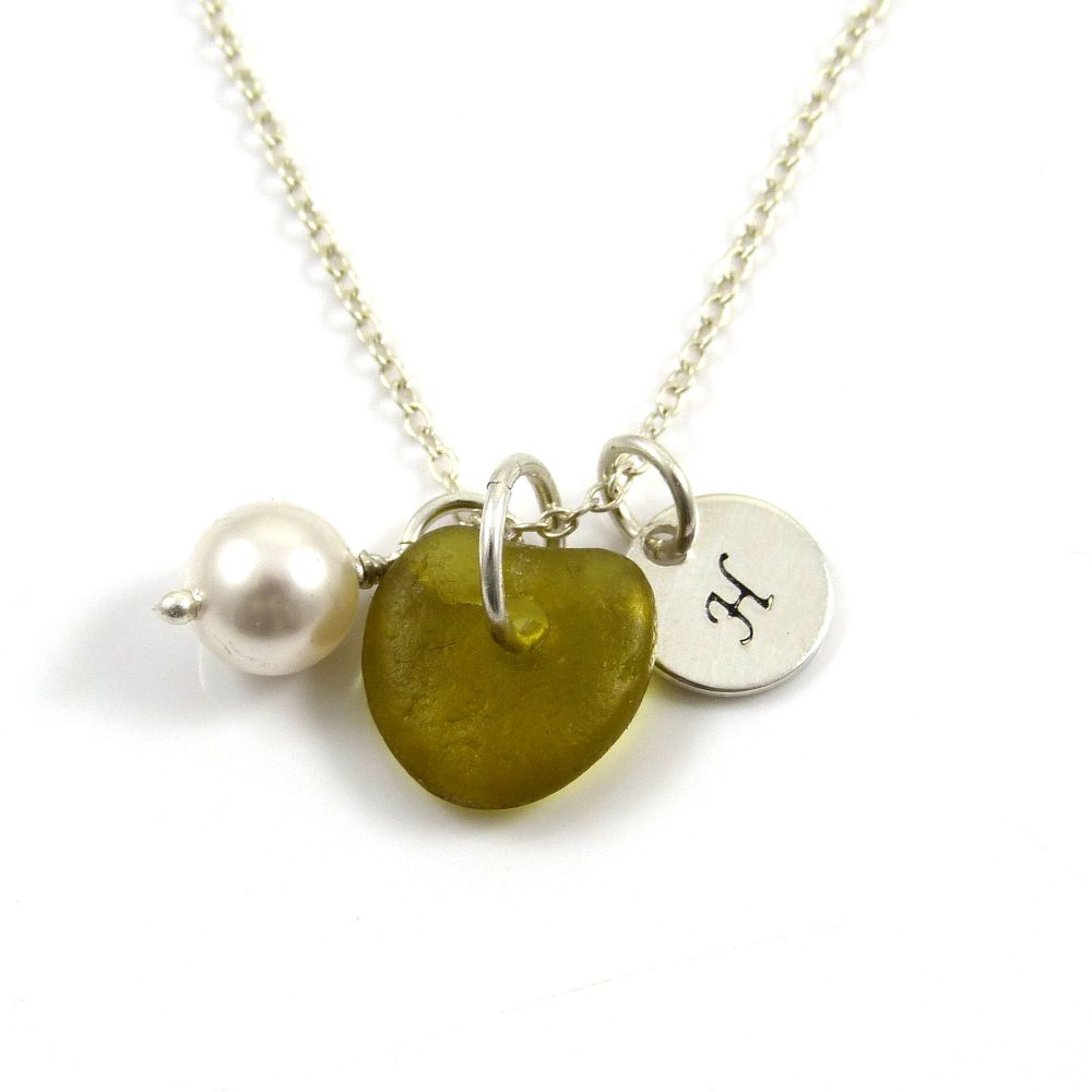 Personalised Sterling Silver Disc, Peridot Sea Glass and Swarovski Crystal