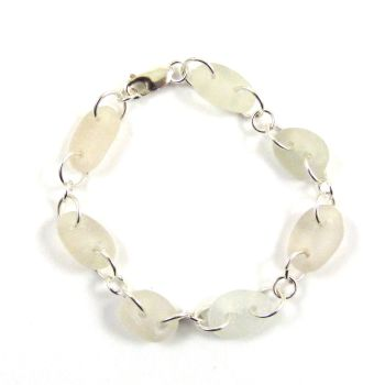 White Sea Glass Bracelet - Shades of White