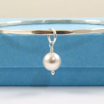 Sterling Silver Hammered Stacking Bangle with a Swarovski Pearl Charm
