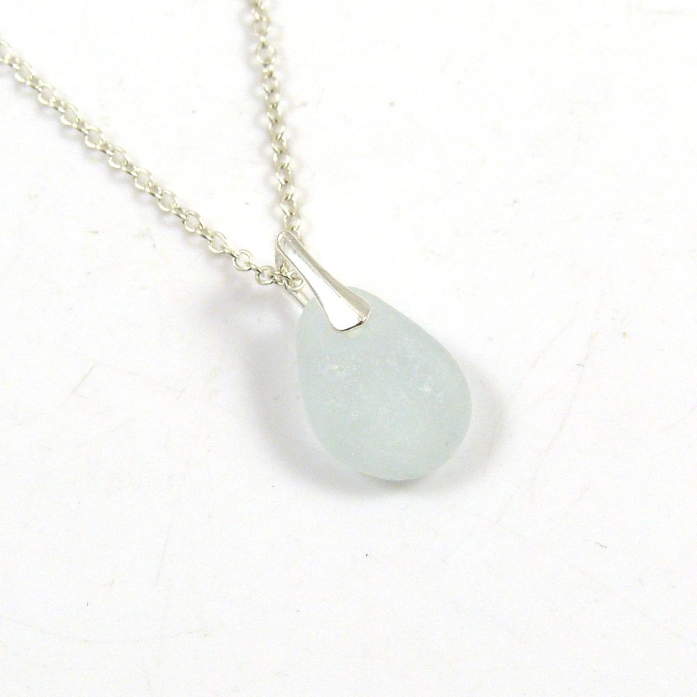 Seamist Sea Glass and Sterling Silver Necklace ELSA
