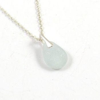 Tiny Seamist Sea Glass and Sterling Silver Necklace ELSA
