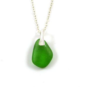 Emerald Green Sea Glass and Silver Necklace ISLA