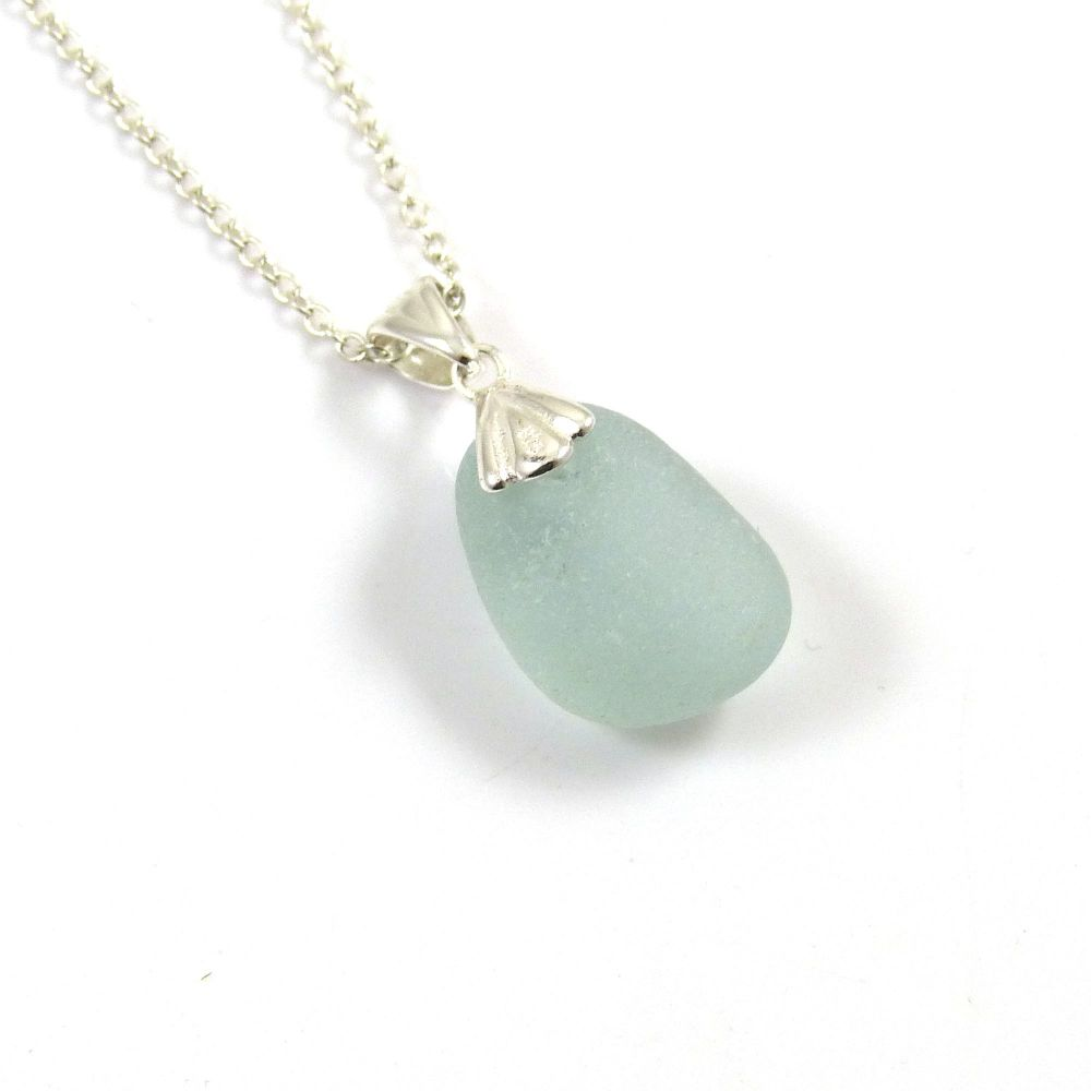 Seafoam Blue Sea Glass Necklace ANNA