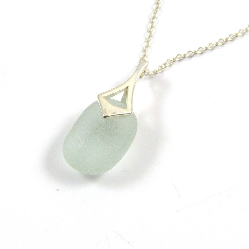 Seaspray Sea Glass and Silver Necklace CARA
