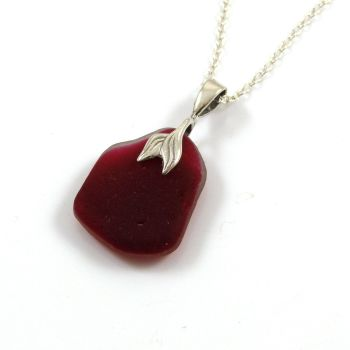 Ruby Red Sea Glass and Sterling Silver Necklace MERMAID SENARA