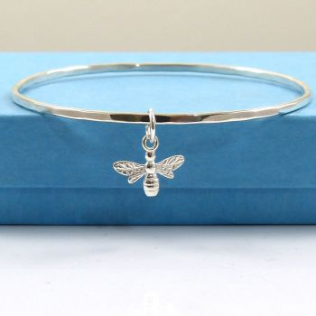Sterling Silver Hammered Bangle with Bee Charm