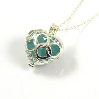 Big Turquoise Sea Glass Heart Locket Necklace L78