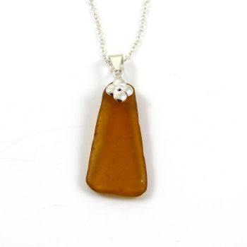 Amber Sea Glass and Silver Necklace ANDRINA