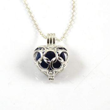 Cobalt Blue Sea Glass Heart Locket Necklace L77