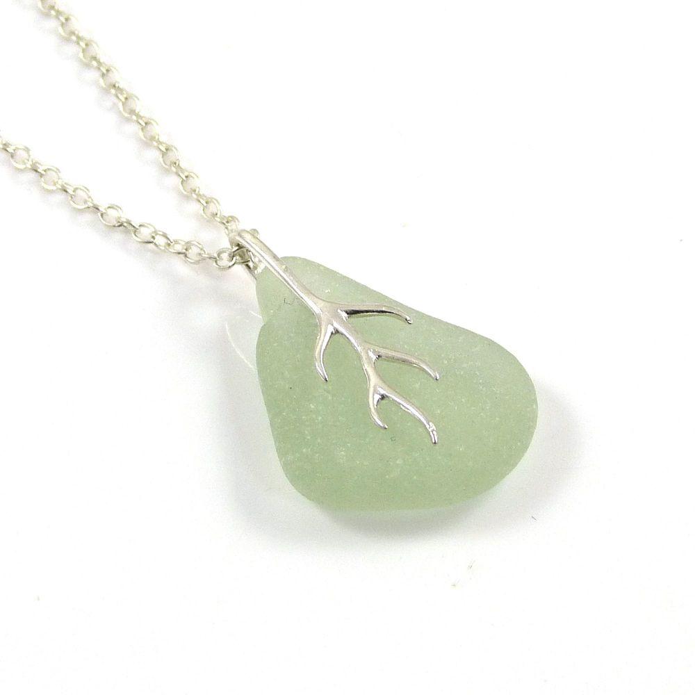 Seafoam Sea Glass And Silver Tendril Pendant Necklace  LYDIA