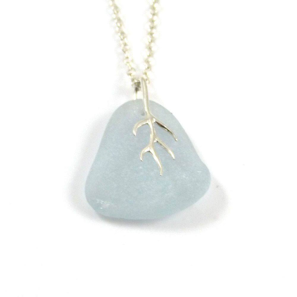 Romantic Pale Blue Sea Glass and Silver Tendril Pendant Necklace  MAURA
