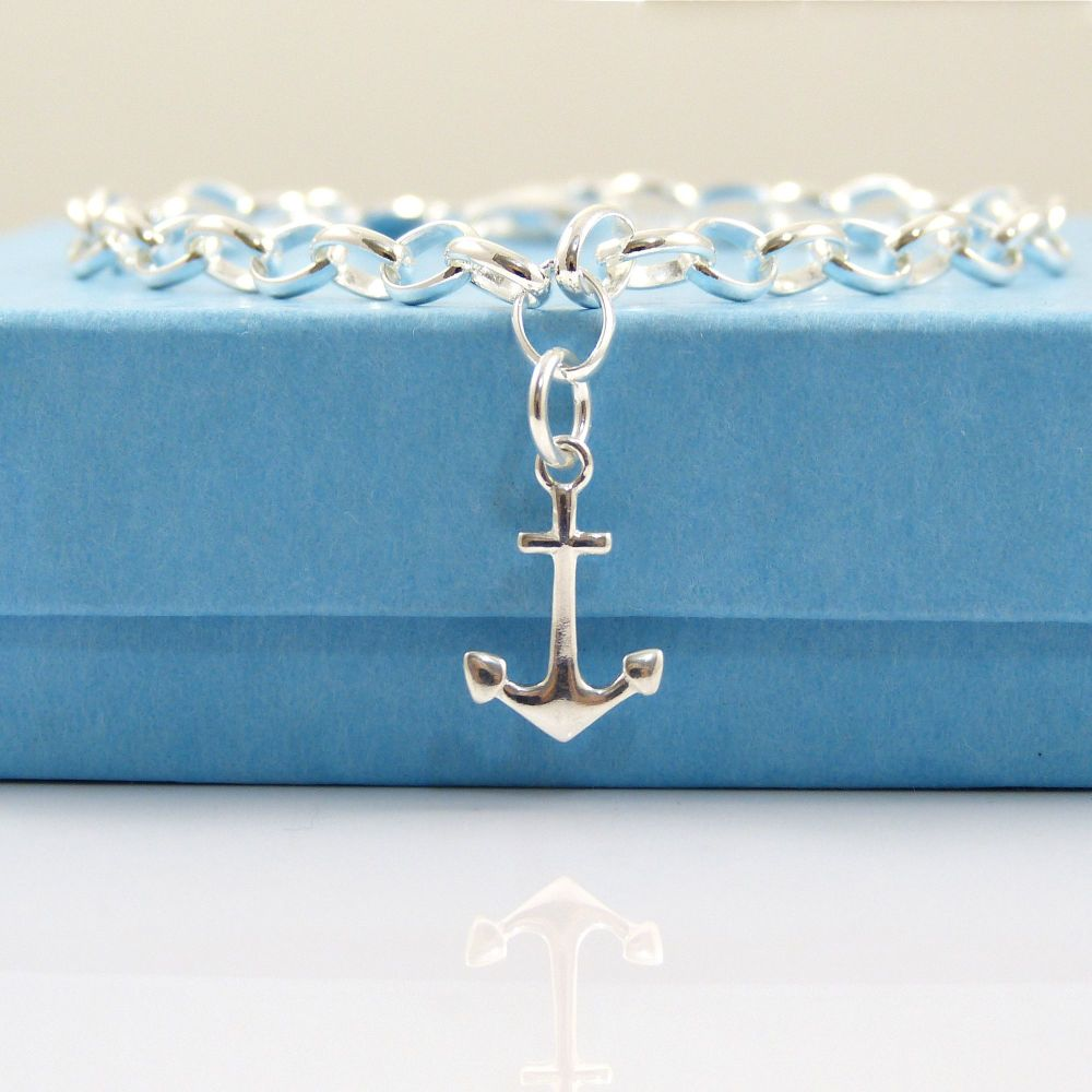 Sterling Silver Bracelet with Silver Anchor Charm