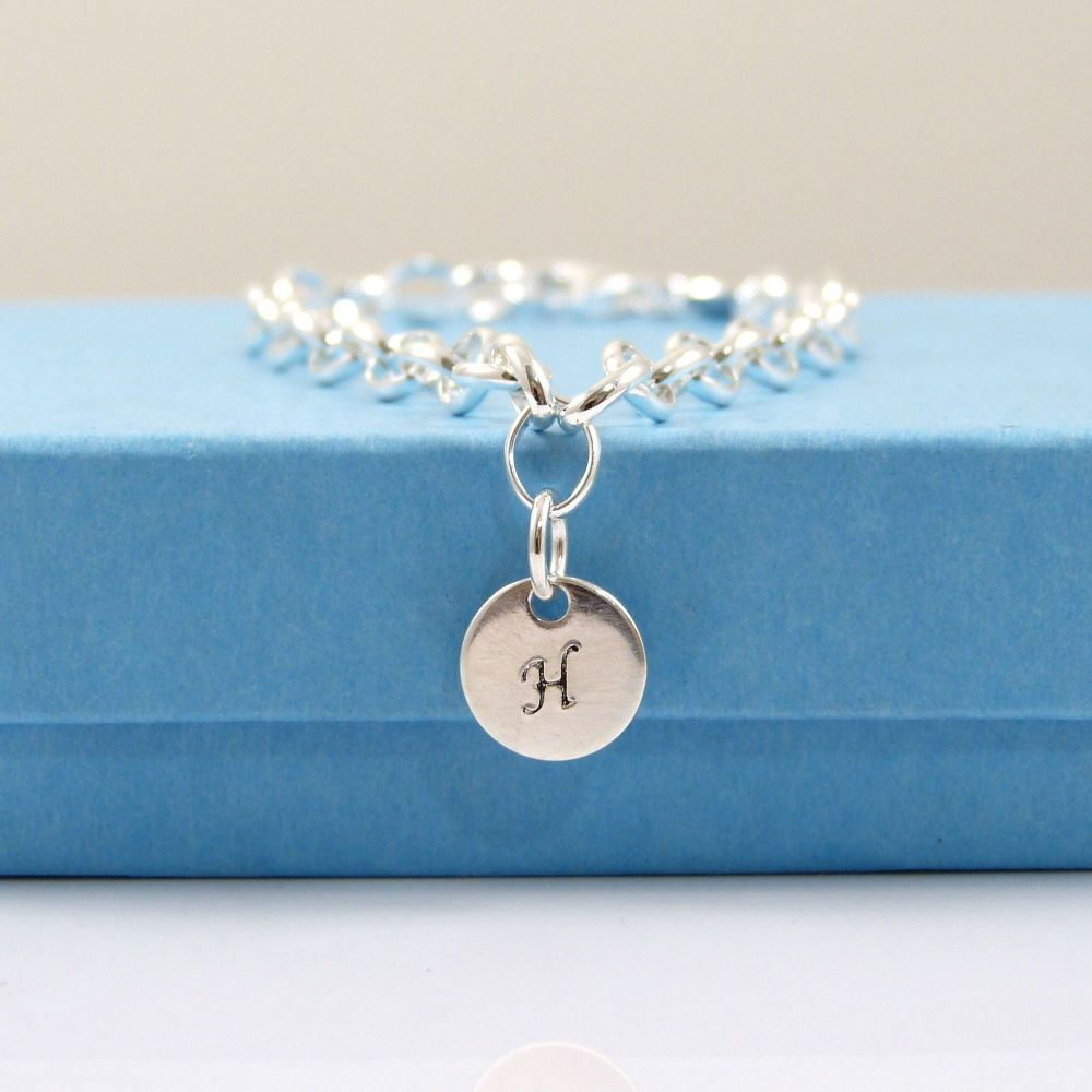 Sterling Silver Bracelet with Silver Initial Disc Charm