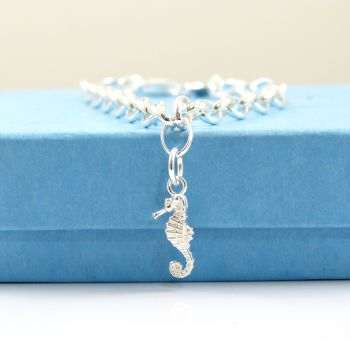 Sterling Silver Bracelet with Silver Seahorse Charm