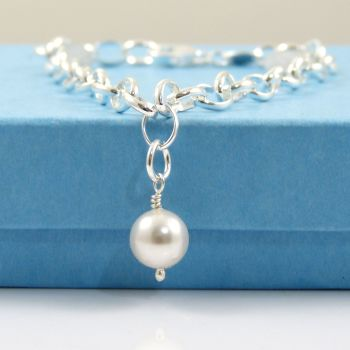 Sterling Silver Bracelet with a Swarovski Crystal Pearl Charm