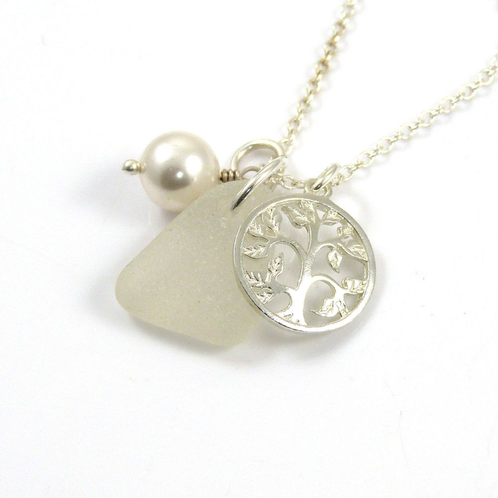 Sea Glass, Tree of Life Charm, Swarovski Crystal Pearl Necklace