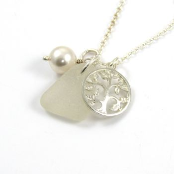 White Sea Glass, Tree of Life Charm, Swarovski Crystal Pearl Necklace