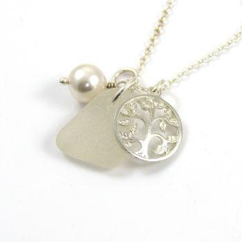 White Sea Glass, Tree of Life Charm, Swarovski Crystal Pearl Necklace