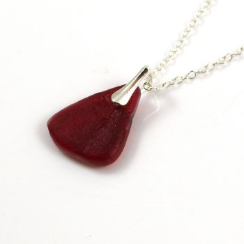 Ruby Red Sea Glass and Sterling Silver Necklace KARY