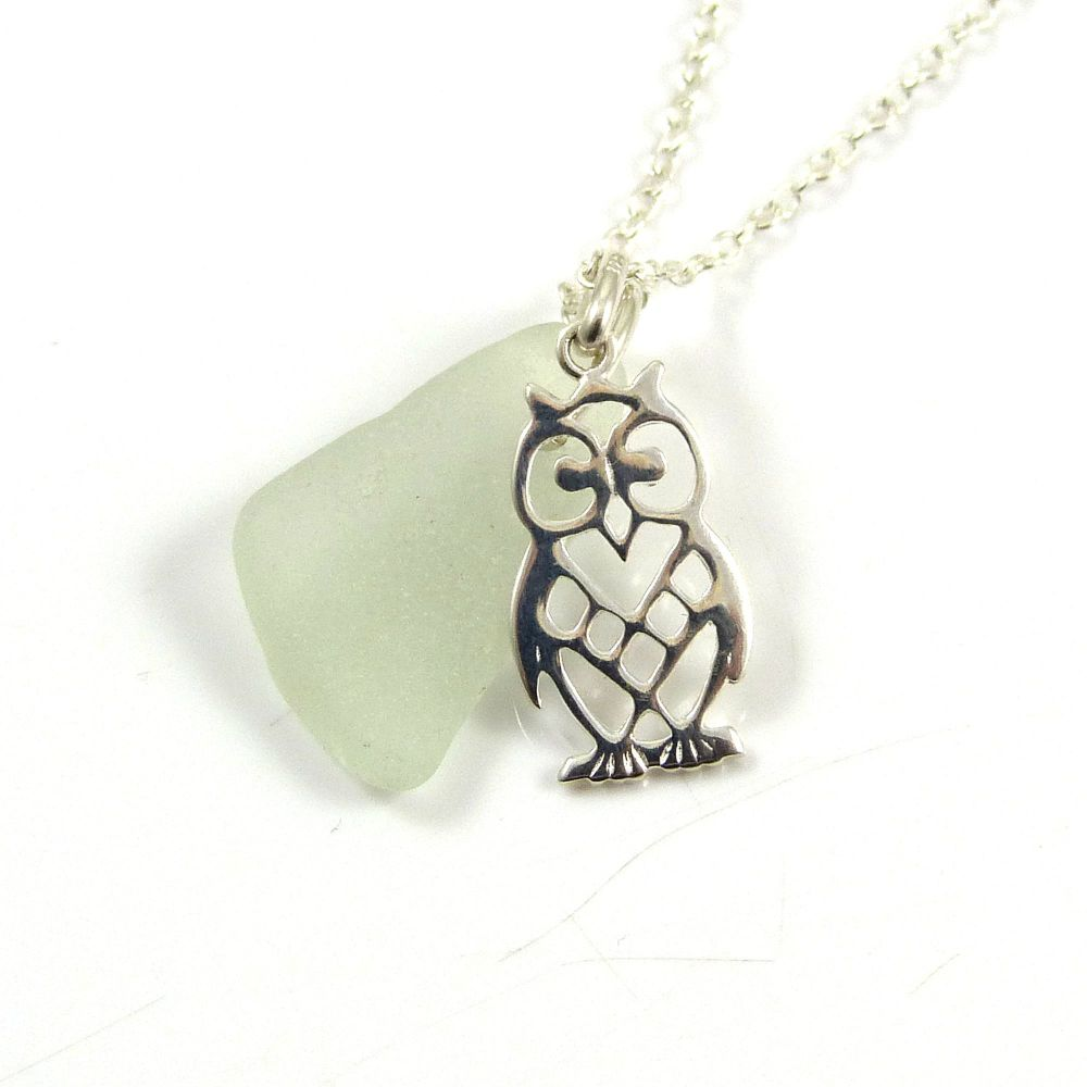 Sterling Silver Owl Charm, Sea Glass Gem and Swarovski Crystal Pearl Neckla