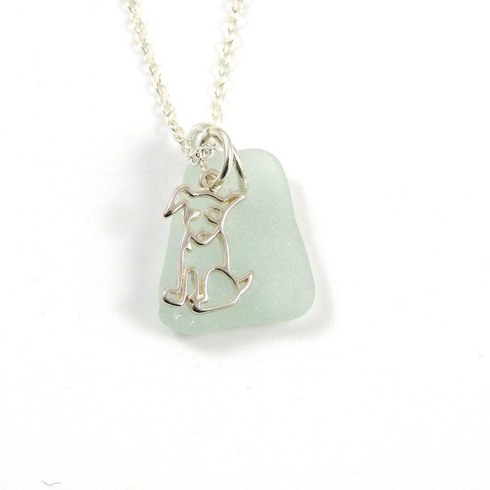 Seafoam Sea Glass, Sterling Silver Dog Charm, Swarovski Pearl Necklace c303